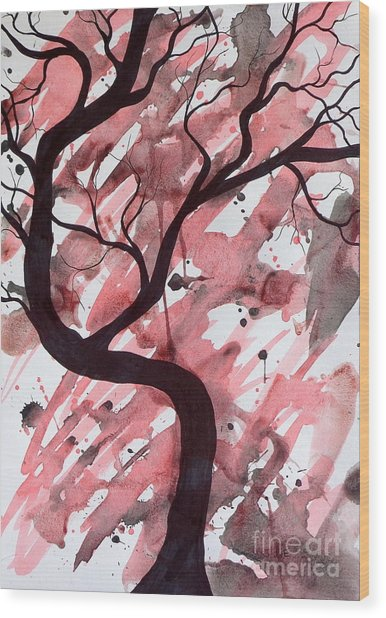 Red Tree Enchantment Wood Print