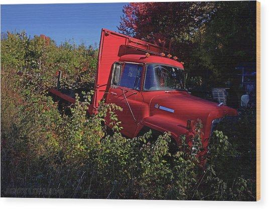 Red Truck Wood Print