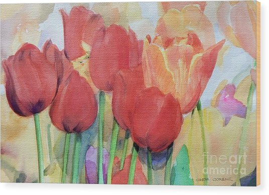 Watercolor Of Blooming Red Tulips In Spring Wood Print