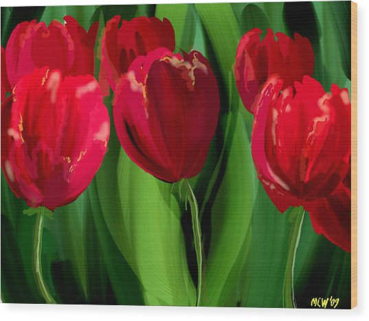 Red Tulips Wood Print by Margaret Wingstedt