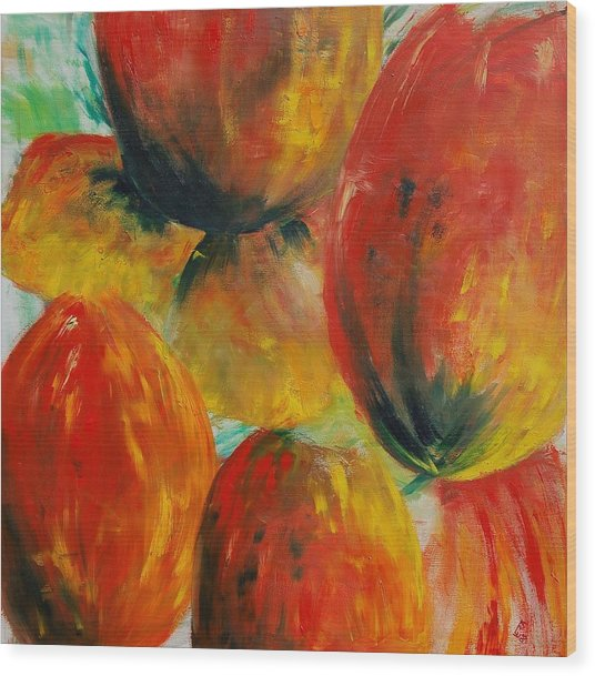 Red Tulips Wood Print by Veronique Radelet