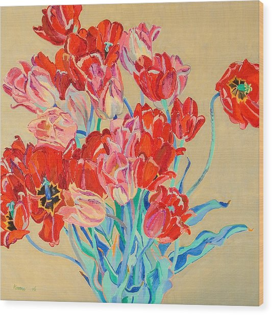 Red Tulips With Gold Background Wood Print by Vitali Komarov