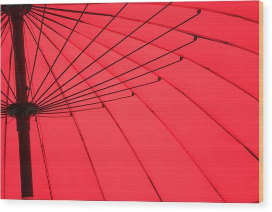 Red Umbrella Abstract Wood Print by Tony Grider