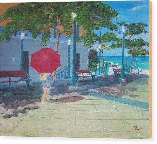 Red Umbrella In San Juan Wood Print by Tony Rodriguez
