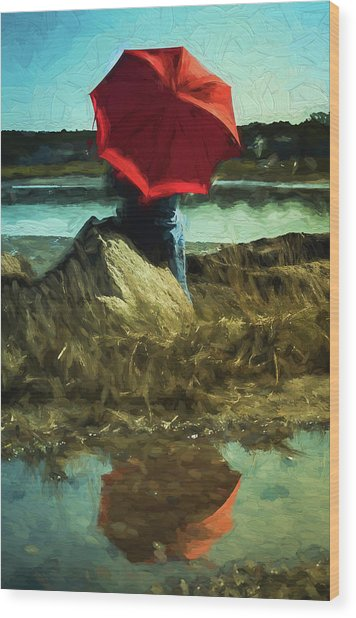 Red Umbrella Wood Print