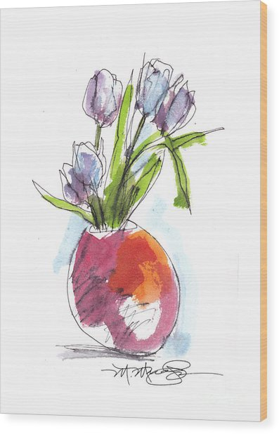 Red Vase With Tulips Wood Print