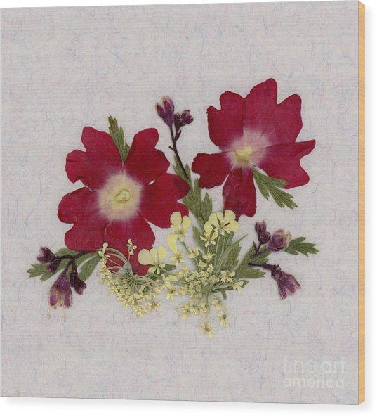 Red Verbena Pressed Flower Arrangement Wood Print