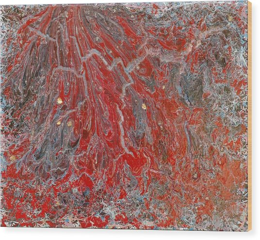 Red Volcano Wood Print