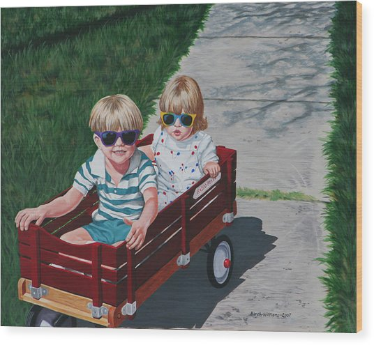Red Wagon Wood Print