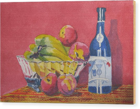 Red Wall Blue Wine Wood Print by Libby  Cagle