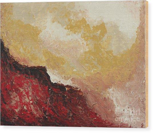 Red Waves Wood Print