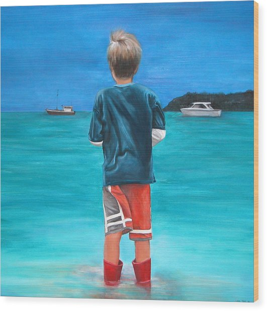 Red Wellies Wood Print by Fiona Jack