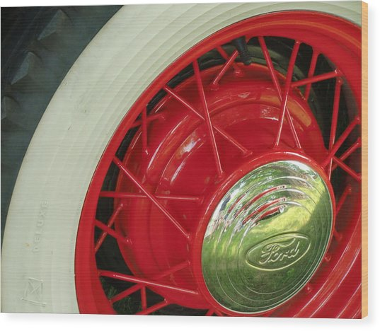 Red Wheels Wood Print by Richard Mansfield