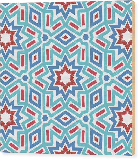 Red White And Blue Fireworks Pattern- Art By Linda Woods Wood Print