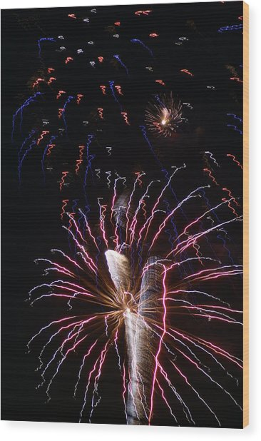 Red White And Blue Wood Print by Heather Green
