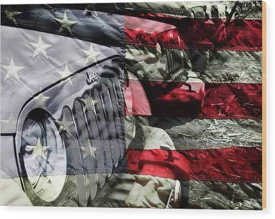 Red White And Jeep Wood Print