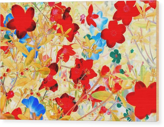 Wood Print featuring the photograph Red Wild Flowers by Marianne Dow