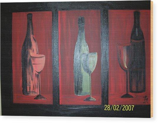 Red Wine Wood Print by Martha Mullins