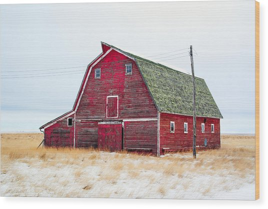 Red Winter Barn Wood Print