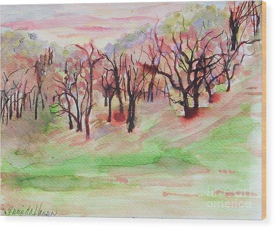 Red Woods Wood Print by Lucinda  Hansen