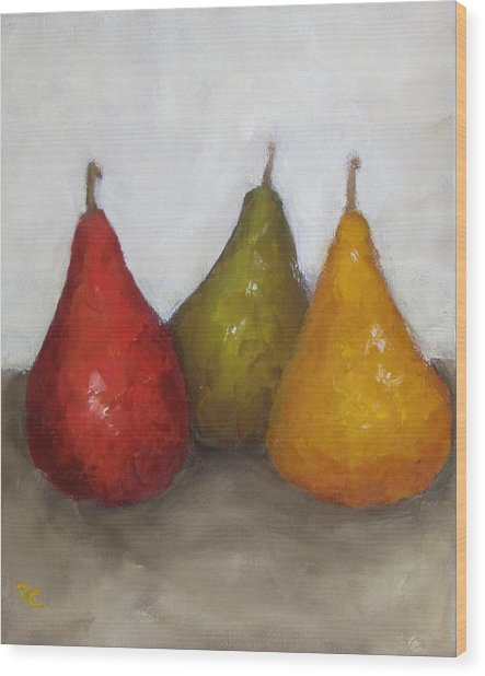 Red Yellow Green Pears Wood Print