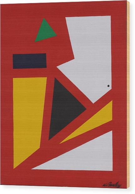 Red Yellow White Wood Print