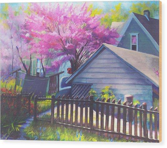 Redbud Tree In Oldtown Springtime Wood Print by Bobbi Baltzer-Jacobo