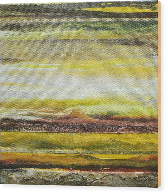 Redesdale Rhythms And Textures Series No3 Yellow And Sepia Wood Print by Mike   Bell
