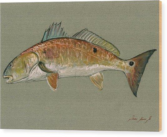 Redfish Watercolor Painting Wood Print