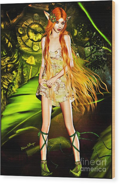 Redhead Forest Pixie Wood Print