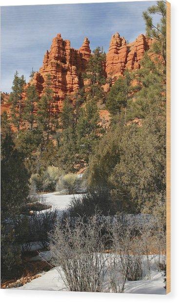 Redrock Winter Wood Print