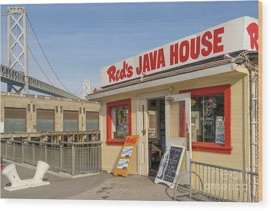Reds Java House And The Bay Bridge At San Francisco Embarcadero Dsc5761 Wood Print