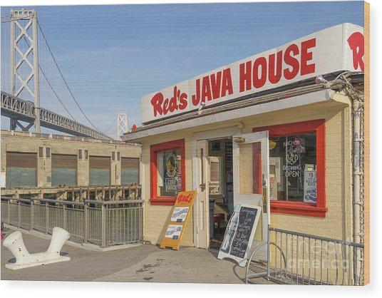 Reds Java House And The Bay Bridge At San Francisco Embarcadero Dsc5761 Wood Print