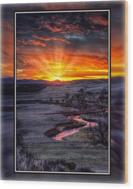 Redwater River Sunrise Wood Print