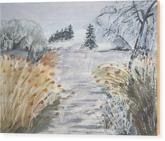 Reeds On The Riverbank No.2 Wood Print