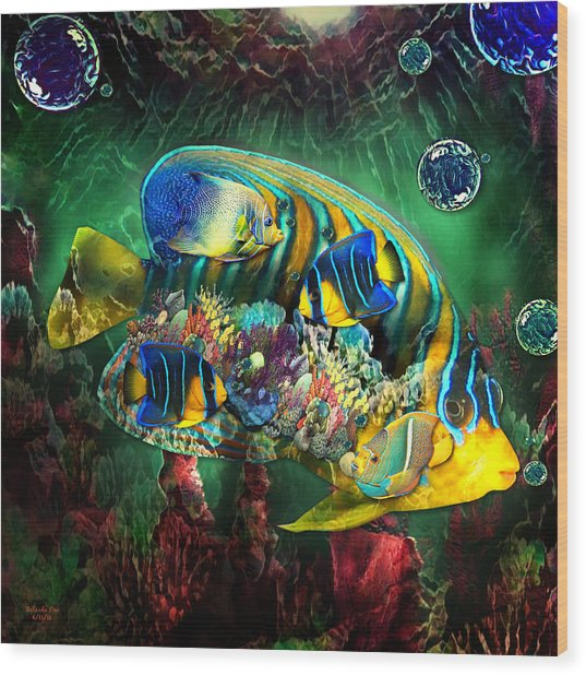 Reef Fish Fantasy Art Wood Print