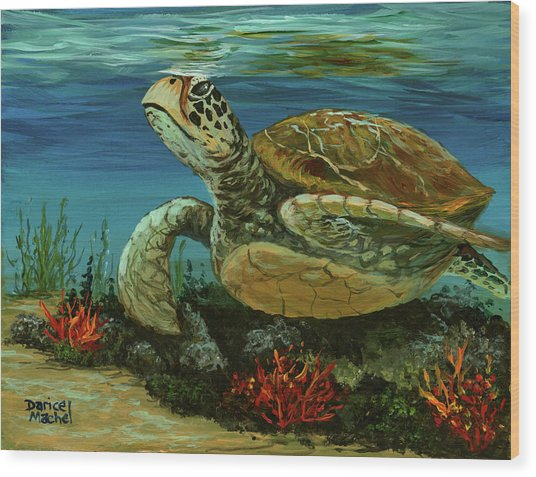 Wood Print featuring the painting Reef Honu by Darice Machel McGuire