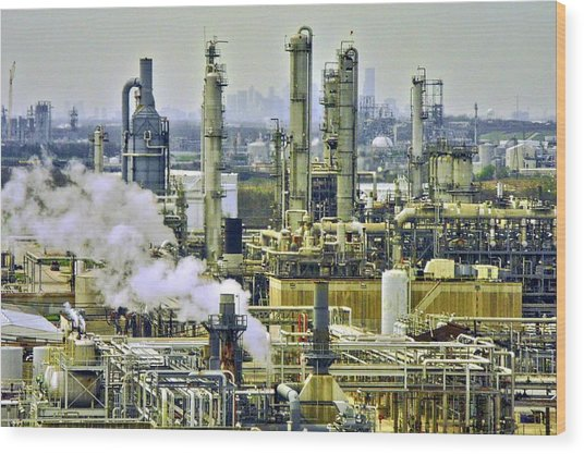 Refineries In Houston Texas Wood Print