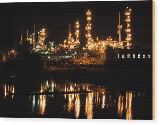 Refinery At Night 1 Wood Print