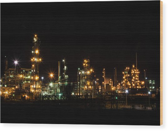 Refinery At Night 2 Wood Print