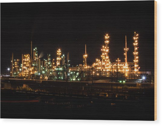 Refinery At Night 3 Wood Print