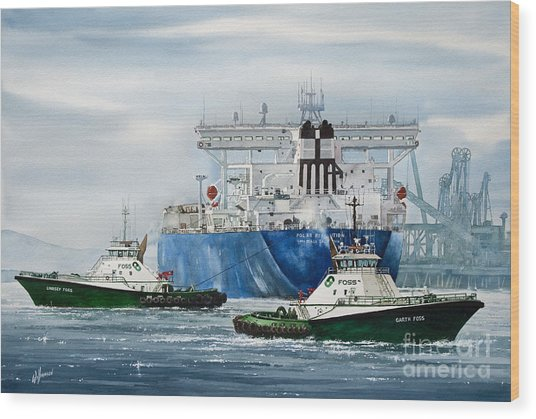 Refinery Tanker Escort Wood Print