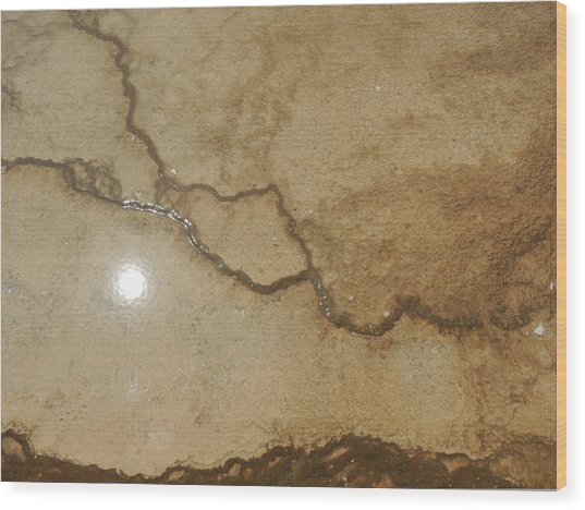 Reflected Sun In Hot Spring Wood Print
