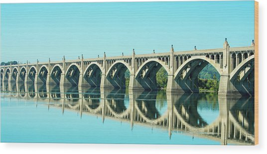 Reflecting Bridge Wood Print