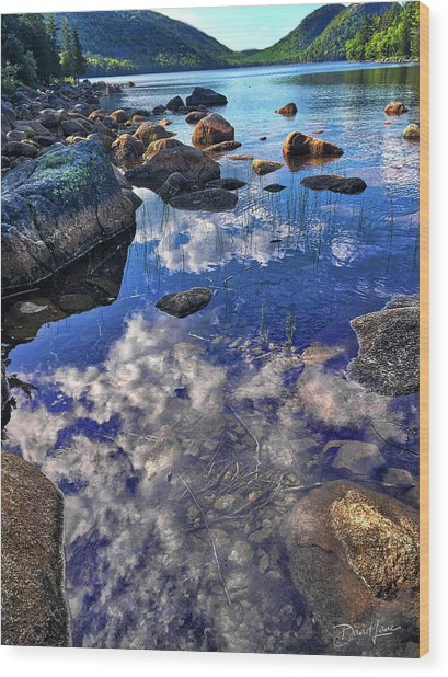 Wood Print featuring the photograph Reflecting Clouds In Maine by David A Lane