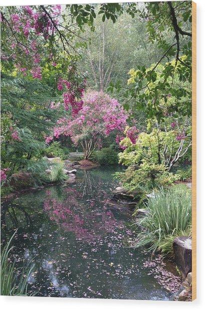 Reflecting Crape-myrtles Wood Print