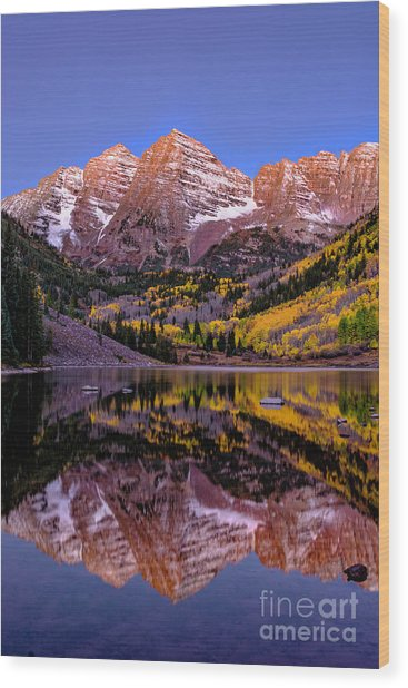 Reflecting Dawn Wood Print