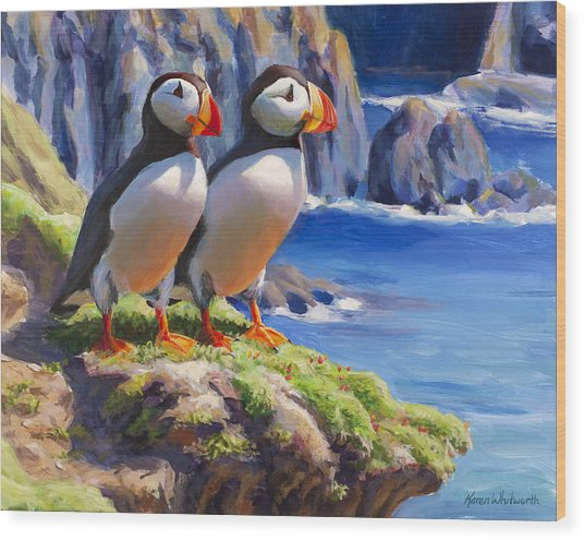 Horned Puffins - Coastal Decor - Alaska Landscape - Ocean Birds - Shorebirds Wood Print