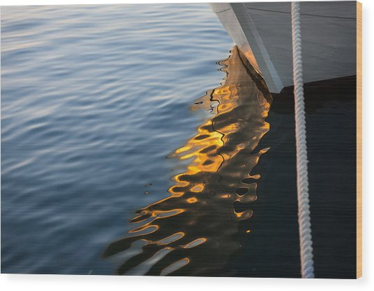 Reflecting On Yachts And Sunsets Wood Print