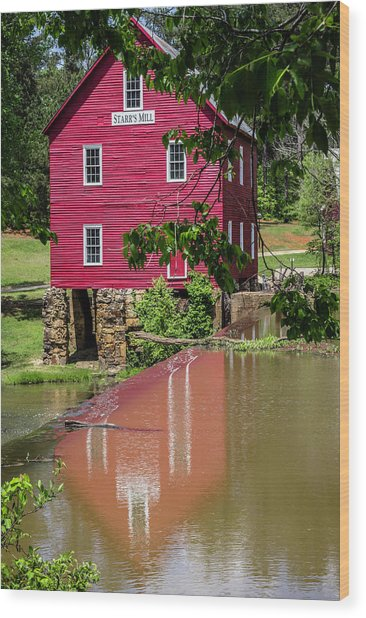 Starrs Mill Reflection Wood Print